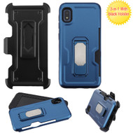 Ultra Rugged Hybrid Kickstand Case with Card Slot and Holster for Samsung Galaxy A10e - Navy Blue