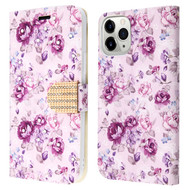 Diamond Series Luxury Bling Portfolio Leather Wallet Case for iPhone 11 Pro Max - Fresh Purple Flowers