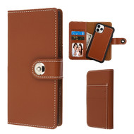 2-IN-1 Premium Leather Wallet with Removable Magnetic Case for iPhone 11 Pro Max - Brown