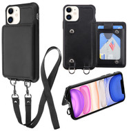 Suspend Wallet Case with Detachable Lanyard for iPhone 11 - Black