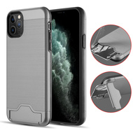 KardCase Hybrid Case with Card Compartment and Kickstand for iPhone 11 Pro Max - Grey
