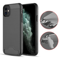 KardCase Hybrid Case with Card Compartment and Kickstand for iPhone 11 - Black