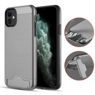 KardCase Hybrid Case with Card Compartment and Kickstand for iPhone 11 - Grey