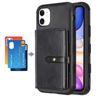 Military Grade Certified TUFF Hybrid Wallet Case for iPhone 11 - Black