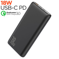 18W USB-C PD Power Delivery 3.0 + Quick Charge 3.0 Portable Power Bank Battery Pack 2-Port USB Charger 10000mAh - Black