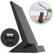 Qi Certified Wireless Fast Charger Stand with USB-A Charging Port - Black