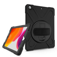 3-IN-1 Hybrid Armor Case with Hand Strap and Rotatable Stand for iPad 10.2 inch (7th Generation) - Black