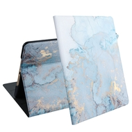 Marble Design Smart Folio Hybrid Case with Auto Sleep / Wake for iPad 9.7 (5th & 6th Generation) - Blue Grey