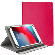 Universal Leather Folio Kickstand Case for 7-8 inch Tablets - Hot Pink