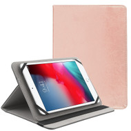 Universal Leather Folio Kickstand Case for 7-8 inch Tablets - Rose Gold