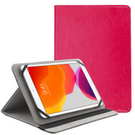 Universal Leather Folio Kickstand Case for 9-10 inch Tablets - Hot Pink