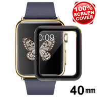 3D Carbon Fiber Full Coverage Soft Edge Tempered Glass Screen Protector for Apple Watch 40mm Series 5 / Series 4 - Black