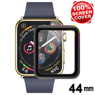 3D Carbon Fiber Full Coverage Soft Edge Tempered Glass Screen Protector for Apple Watch 44mm Series 5 / Series 4 - Black