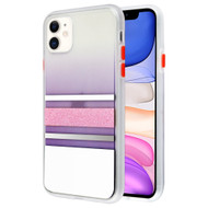 Sheer Glitter Transparent Case for iPhone 11 - White Pink