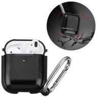 Metallic Color TPE Protective Case with Carabiner Clip for Apple AirPods - Black