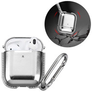 Metallic Color TPE Protective Case with Carabiner Clip for Apple AirPods - Silver