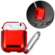 Metallic Color TPE Protective Case with Carabiner Clip for Apple AirPods - Red