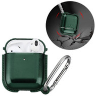 Metallic Color TPE Protective Case with Carabiner Clip for Apple AirPods - Midnight Green