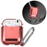 Metallic Color TPE Protective Case with Carabiner Clip for Apple AirPods - Rose Gold