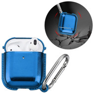 Metallic Color TPE Protective Case with Carabiner Clip for Apple AirPods - Blue