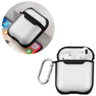 Transparent Hard Shell Protective Case with Carabiner Clip for Apple AirPods - Black