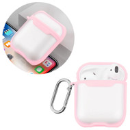 Transparent Hard Shell Protective Case with Carabiner Clip for Apple AirPods - Pink