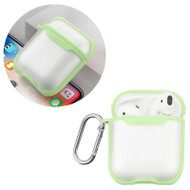 Transparent Hard Shell Protective Case with Carabiner Clip for Apple AirPods - Green