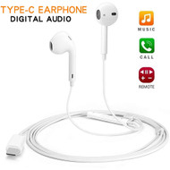 USB-C (Type-C) Port Stereo Earphones with Inline Remote Control and Microphone - White