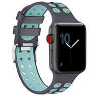 Rugged Sport Band Watch Strap for Apple Watch 44mm / 42mm - Grey Baby Blue