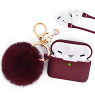 Silicone Protective Case with Anti-Lost Strap and Faux Fur Pom Pom Keychain for Apple AirPods Pro - Burgundy