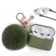 Silicone Protective Case with Anti-Lost Strap and Faux Fur Pom Pom Keychain for Apple AirPods Pro - Midnight Green