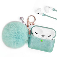 Silicone Protective Case with Anti-Lost Strap and Faux Fur Pom Pom Keychain for Apple AirPods Pro - Baby Blue