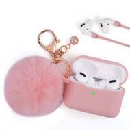 Silicone Protective Case with Anti-Lost Strap and Faux Fur Pom Pom Keychain for Apple AirPods Pro - Pink