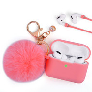 Silicone Protective Case with Anti-Lost Strap and Faux Fur Pom Pom Keychain for Apple AirPods Pro - Hot Pink