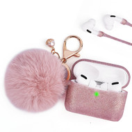 Silicone Protective Case with Anti-Lost Strap and Faux Fur Pom Pom Keychain for Apple AirPods Pro - Rose Gold