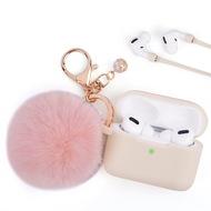 Silicone Protective Case with Anti-Lost Strap and Faux Fur Pom Pom Keychain for Apple AirPods Pro - Light Pink
