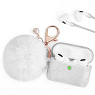 Silicone Protective Case with Anti-Lost Strap and Faux Fur Pom Pom Keychain for Apple AirPods Pro - White
