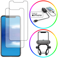 Tempered Glass Screen Protectors, MFi Lightning Wall Charger & Car Air Vent Phone Mount for iPhone XS / X