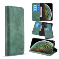 2-IN-1 Luxury Magnetic Leather Wallet Case for iPhone 11 Pro Max - Midnight Green