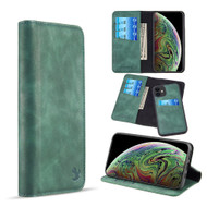 2-IN-1 Luxury Magnetic Leather Wallet Case for iPhone 11 - Midnight Green