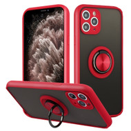 *Sale* Frost Semi Transparent Hybrid Case with 360° Rotating Ring Holder for iPhone 11 Pro Max - Red