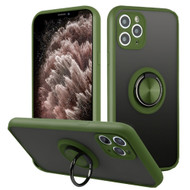 Frost Semi Transparent Hybrid Case with 360° Rotating Ring Holder for iPhone 11 Pro Max - Midnight Green