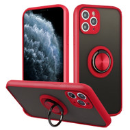 *Sale* Frost Semi Transparent Hybrid Case with 360° Rotating Ring Holder for iPhone 11 Pro - Red
