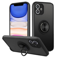 Frost Semi Transparent Hybrid Case with 360° Rotating Ring Holder for iPhone 11 - Black