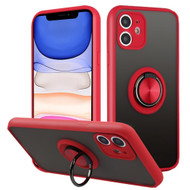 Frost Semi Transparent Hybrid Case with 360° Rotating Ring Holder for iPhone 11 - Red