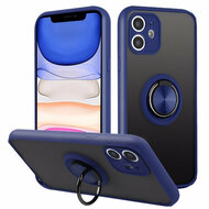 Frost Semi Transparent Hybrid Case with 360° Rotating Ring Holder for iPhone 11 - Navy Blue