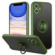 Frost Semi Transparent Hybrid Case with 360° Rotating Ring Holder for iPhone 11 - Midnight Green