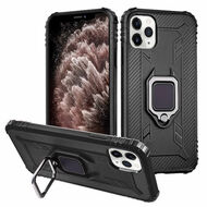 Carbon Fiber TPE Case with 360° Rotating Ring Holder for iPhone 11 Pro Max - Black