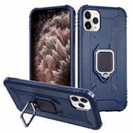Carbon Fiber TPE Case with 360° Rotating Ring Holder for iPhone 11 Pro Max - Navy Blue