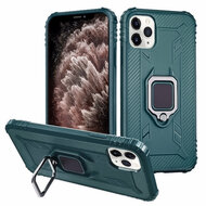 *Sale* Carbon Fiber TPE Case with 360° Rotating Ring Holder for iPhone 11 Pro Max - Midnight Green